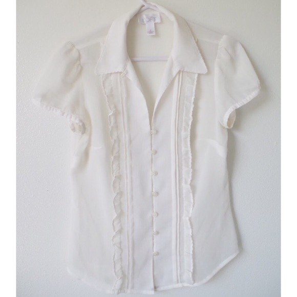 fab4e26fe LOFT Tops | Ann Taylor Cream Button Up Ruffle Blouse | Poshmark